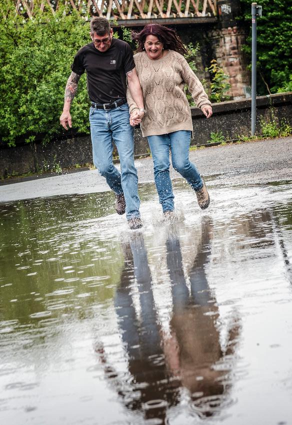 splashing through puddles near avenham park preston continental pub