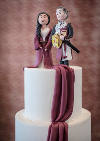 medieval wedding cake of lord and lady at preston masonic hall