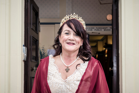 lovely bride smiling just before her medieval nuptials at the masonic hall preston lancashire