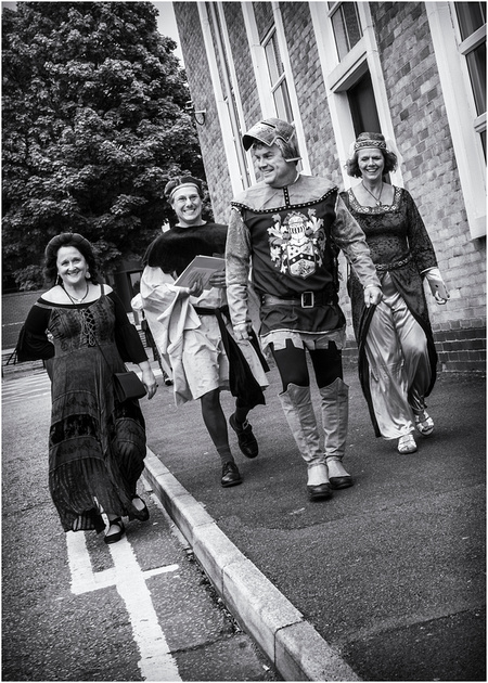 medieval wedding guests arriving for medieval wedding in preston at the masonic hall