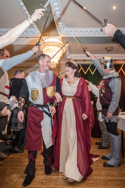 medieval bride and groom archway of swords masonic hall preston
