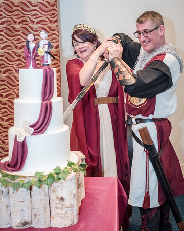 medieval bride and groom and medieval wedding cake lancashire
