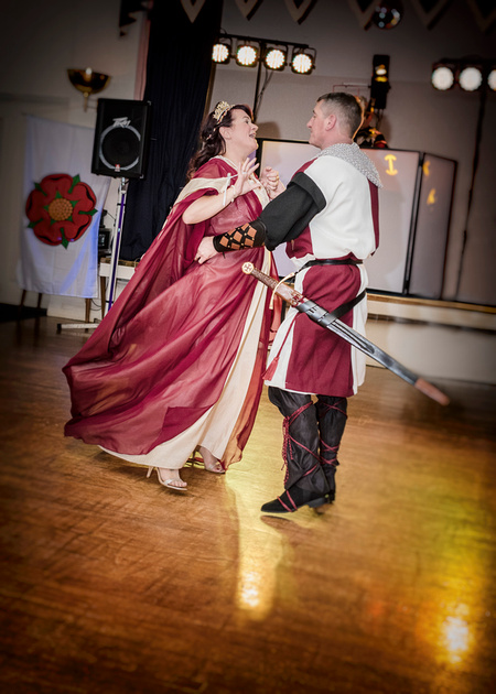 medieval bride and groom lord and lady dance to medieval music at masonic hall preston lancashire