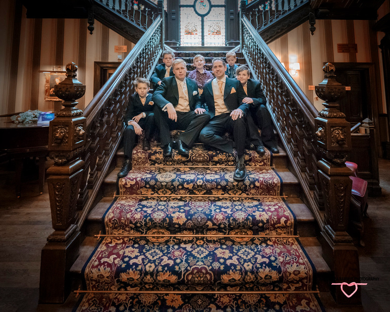 groom bestman and pageboys staircase oaks hotel burnley