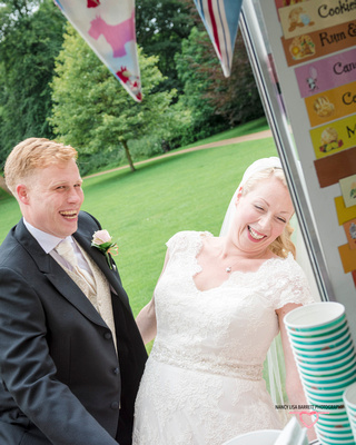 bride and groom laughing at hyacinth vintage ice cream at towneley hall gardens burnley lancashire