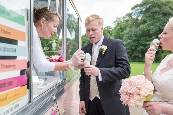 bride tasting cornet groom receiving cornet at hyacinth vintage ice cream at towneley hall gardens burnley lancashire