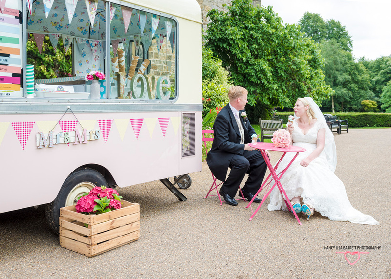 bride and groom sat at table mr and mrs at hyacinth vintage ice cream at towneley hall gardens burnley lancashire