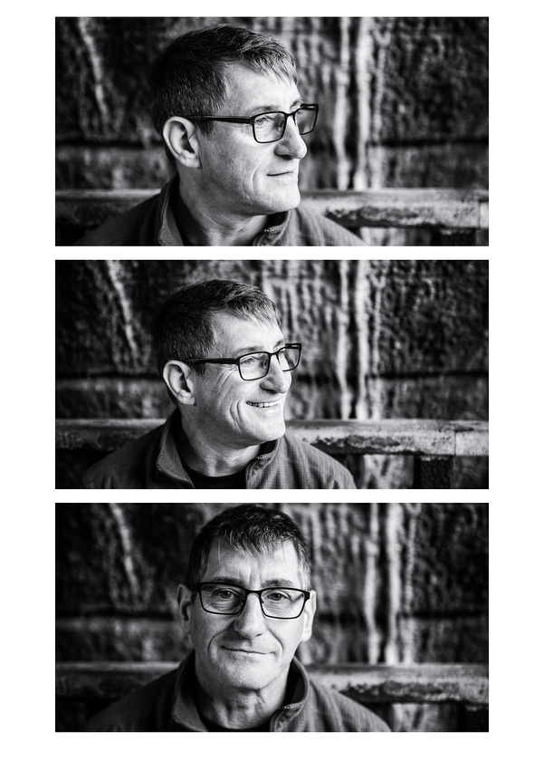 a gritty trio of black and white portrait shots of the groom to be in avenham park preston