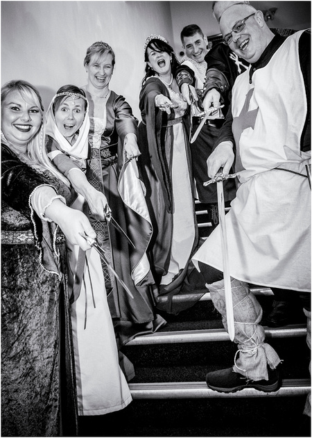medieval bride groom wedding guests with swords at masonic lodge preston