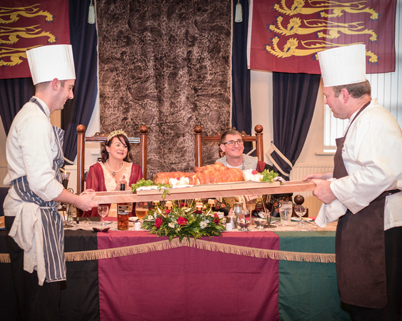medieval feast for wedding party at medieval wedding at masonic hall