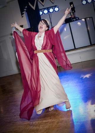 medieval bride singing and dancing at medieval wedding at masonic hall preston lancashire