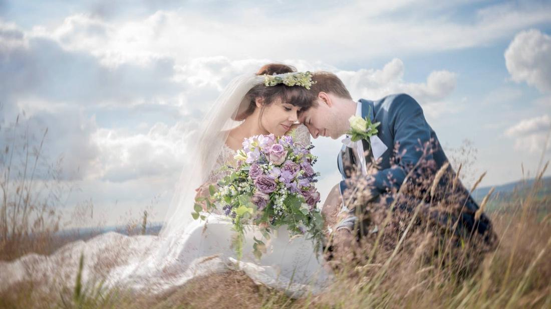 bride and groom on jefferey hill, longridge, ribble valley lancashire