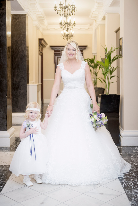 bride in wedding dress and daughter in the richmond hotel liverpool